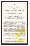 DP Maria L. Seryn / De Bruyne ° Noordschote Lo Reninge 1884 † 1924 X Cyriel DeWancker - Images Religieuses