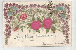 A Ces Fleurs, J'unis Mes Vœux. (mariage), Fleurs En Tissus, Couronne De Fleurs, église Et Maisons. Relief. - Noces