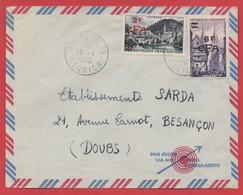 """TIMBRES """"LOURDES"""" + """"QUIMPER""""  Surchargés CFA  -  Sur Enveloppe LA RIVIERE / REUNION - 1956 - - Postmark Collection (Covers)"""
