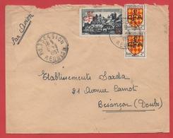 """ENVELOPPE : POSSESSION / REUNION  1957 - Affr. """"UZERCHE"""" + """"ANGOUMOIS"""" X2 - Surchargés CFA - - Postmark Collection (Covers)"""