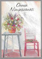 Postal Stationery Red Cross Finland (SPR 22) - Flowers Table Chair (Name Day) Illustr. Leena Airikkala - Used - Finlande