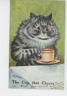 """CHATS - CAT - Jolie Carte Fantaisie Chat """"The Cup That Cheers ! """" Signée LOUIS WAIN - Katzen"""