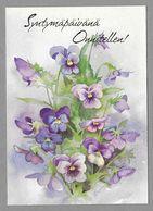 Postal Stationery Red Cross Finland (SPR 22) - Violet Pansies (Birthday) Illustr. Priit Rea - Used - Finlande