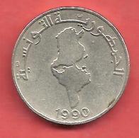 1/2 Dinar , TUNISIE , Cupro-Nickel , 1990 , N° KM # 318 - Tunisie