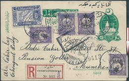 Turchia Turkey Ottoman,Postal Card 1917,Franked 1Pa+4x5Pa Overprinted1331 Lunar,Registred From Stamboul To Germany,Munch - 1858-1921 Ottoman Empire