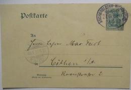 Bahnpost Aschersleben Wittenberg Zug 680 Ganzsache 1907 (53009) - Briefmarken