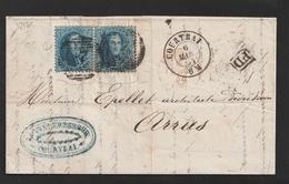 No 15 Medaillon 20 Ct. In Paar Op Brief Van COURTRAI 6 Mars 1864 Naar ARRAS - Aankomststempels LILLE En ARRAS - 1863-1864 Médaillons (13/16)