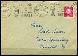 """Germany 1960 Bedarfsbrief M. Mi.Nr.304 Und MWST""""Dortmund 1-Dortmund Stadt Des Welt-Bekannten Bieres """"1 Beleg - Biere"""