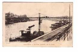 93 Saint Denis Pont Suspendu Sur La Seine Cpa Carte Animée Animation Bateau Peniche - Saint Denis