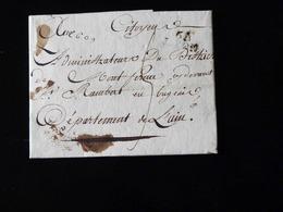 LETTRE DE LYON POUR SAINT RAMBERT EN BUGEY - 1794  -  COURRIER OFFICIEL DE L'AGENCE DES MATIERES GENERALES - Marcophilie (Lettres)