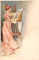 Illustrateur E.ELZINGRE-Art Nouveau- Femme Contemplant Une Gravure. - Otros Ilustradores