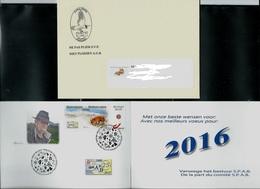 Meilleures Voeux  2016 Renard Avec Enveloppe Et Dusotamps  Obl. Bxl 26/10/2015 - 1985-.. Oiseaux (Buzin)