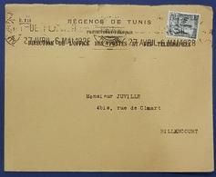1928 Cover, Tunisie - Billancourt France - Tunisia