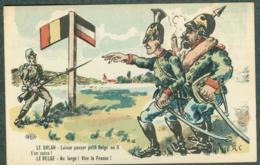 WW1 Carte Caricature Anti Guillaume Reich Allemand Belgique Uhlan Signée A.C. - Autres Illustrateurs