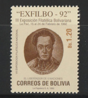 """Bolivia 1992 """"Exfilbo 92"""" National Stamp Exhibition, La Paz  MNH - Bolivia"""