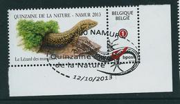 Duostamp Obl. Namur 12/10/2013   Avec N° 4182  Lèzard Des Murailles - 1985-.. Oiseaux (Buzin)