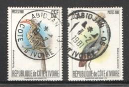 1980  Oiseaux - 2 Différents 65fr -  Oblitérés - Côte D'Ivoire (1960-...)