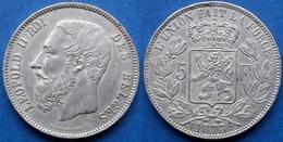 BELGIUM - Silver 5 Francs 1873 KM# 24 Leopold II (1865-1909) - Edelweiss Coins - 1865-1909: Leopold II