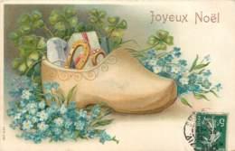 Belle Carte Gaufrée - Sabot Bleuets - Noël