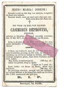 D 548. CASIMIRUS  DEPROVINS - Jongman -° BEVERLOO En Aldaar Schielijk + 1877 - Images Religieuses