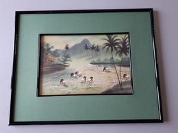 Peinture Sur Soie Encadrée D'un Paysage Du Viet-Nam   & - Loisirs Créatifs
