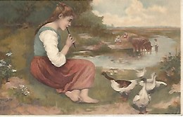 CPA Arts * Jeune Fille Jouant De La Flûte * - Peintures & Tableaux