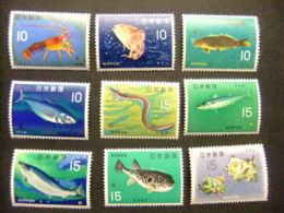 JAPON 1966 Poissons Et Crustacés Yvert 822 / 829 D ** MNH Incomplet - 1926-89 Emperador Hirohito (Era Showa)