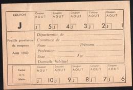 Vieux Papiers > Non Classés  Tickets  Feuille Provisoire De Coupons 1940 - Non Classés