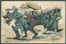 WW1 Carte Caricature Anti Guillaume Reich Allemand Zeppelin Signée - Autres Illustrateurs