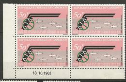 CAMEROUN PA N° 60 Coin Daté 18 / 10 / 1963 NEUF** Gom Coloniale SANS CHARNIERE / MNH - Cameroun (1960-...)