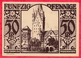 Allemagne 1 Notgeld  50 Pfenning Stadt  Paderborn Dans L 'état  Lot N °3194 - [ 3] 1918-1933 : République De Weimar