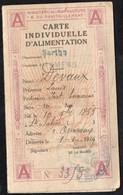 Vieux Papiers > Non Classés Mamers 72 Carte Individuelle D Alimentation  1919 - Non Classés
