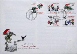 CHRISTMAS NOEL WEIHNAHTEN ZWERGE GNOME NAINS FOLKLORE SWEDEN SCHWEDEN SUEDE  2004 MI 1434 - 1238 FDC - Noël
