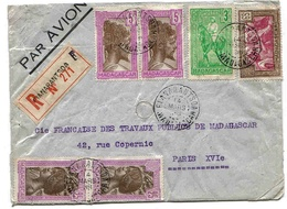 Madagascar Lettre Recommandée Avion Airmail Cover Fianarantsoa 38 - Madagascar (1889-1960)