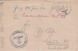 German Feldpost WW2: From Albania - Regiment 2 Brandenburg  FP 06343 P/m 10.1.1944 - Letter Inside (0047) - Militaria
