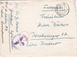 German Feldpost WW2: Flugzeugführerschule A 9 (2. Techn. Kompanie) P/m Falkenau (Oderschles) 14.2.1944 - Letter Inside - Militaria