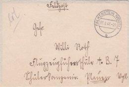 German Feldpost WW2: To Flugzeugführerschule A/B 7 In Plauen P/m Falkenstein (Vogtl) 1.9.1941 - Letter Inside  (0047) - Militaria