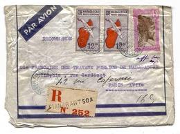 Madagascar Lettre Recommandée Avion Airmail Cover Fianarantsoa 37 - Madagascar (1889-1960)