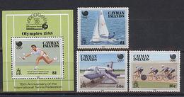 Cayman, Seoul , 1988, 3 Stamps + Block - Summer 1988: Seoul