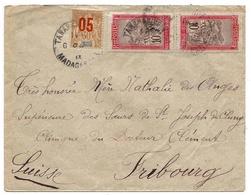Madagascar Suisse Lettre Tananarive Fribourg Groupe Grande Comore Surcharge De 1912 - Madagascar (1889-1960)