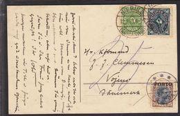 1923. Postage Due. Porto. Chr. X. 25 Øre Brown/black VOJENS 13.3. 23. On Postcard Fro... (Michel P6) - JF111104 - Port Dû (Taxe)