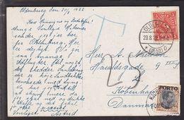 1922. Postage Due. Porto. Chr. X. 25 Øre Brown/black KJØBENHAVN 2 OMB 24. 8. 22. On P... (Michel P6) - JF111106 - Port Dû (Taxe)