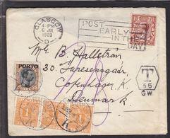1923. Postage Due. Porto. Chr. X. 25 Øre Brown/black + 3X 1 ØRE KØBENHAVN K.  3 OMB. ... (Michel P6) - JF111107 - Port Dû (Taxe)