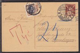 1921. Postage Due. Porto. Chr. X. 25 Øre Brown/black KJØBENHAVN Ø 1 OMB 5. 12. 21. On... (Michel P6) - JF111108 - Port Dû (Taxe)