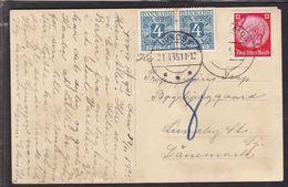 1935. Postage Due. Porto. 4 Øre Blue X 2 LUNDBY 21. 1. 35. On Postcard From DEUTSCHLA... (Michel P10) - JF111114 - Port Dû (Taxe)