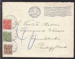 1926. Postage Due. Porto. 25 Øre Red + 5 ØRE + 10 ØRE LØGUMKLOSTER 17.4.26. On Letter... (Michel P15) - JF111124 - Port Dû (Taxe)
