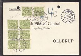 1955. Postage Due. Porto. 5 Øre Green X 8 OLLERUP 3.9.55. On Postcard From SKODBORG J... (Michel P27) - JF111142 - Port Dû (Taxe)