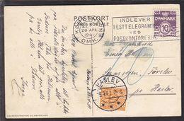 1941. Postage Due. Porto. 10 Øre Orange HASLEV 29.4.41. On Postcard L'ADMINISTRATION ... (Michel P28) - JF111147 - Port Dû (Taxe)
