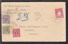 1951. Postage Due. Porto. 6 Øre Olive  + 2 ØRE + 15 ØRE GLOSTRUP 21.3.51. On Cover Fr... (Michel P33) - JF111164 - Port Dû (Taxe)