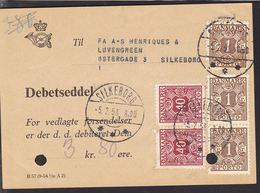 1934. Postage Due. Porto. 1 Kr. Brown X 3 + 2 X40 ØRE SILKEBORG -5. 2. 58.  On DEBETS... (Michel P31) - JF111173 - Port Dû (Taxe)